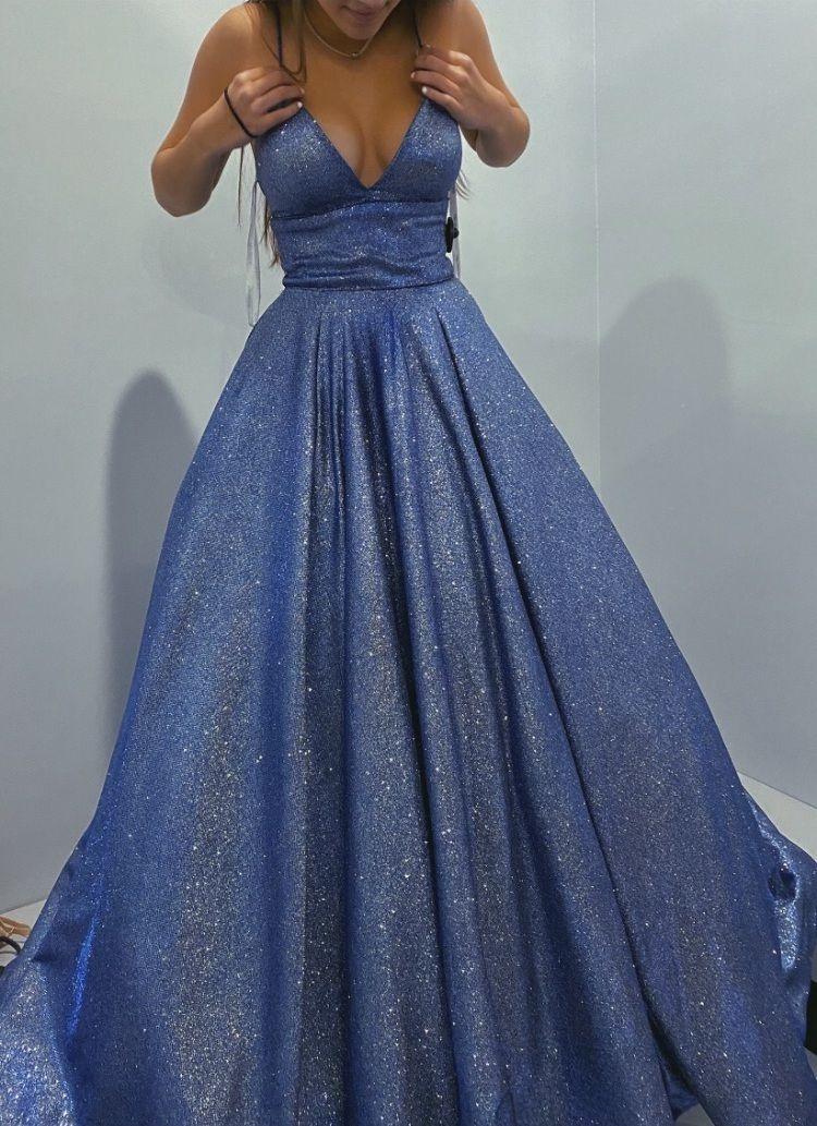 Shiny V Neck Long Blue Prom Dresses, Long Blue For