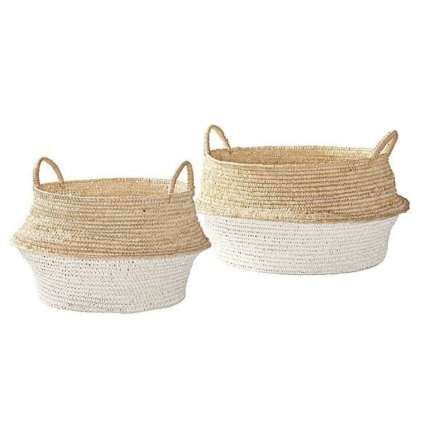 Round Belly Baskets – Set Of 2 - Serena & Lily - $128.00 - domino.com  I liked the photo of the basket on a tri-leg, dipped stool...