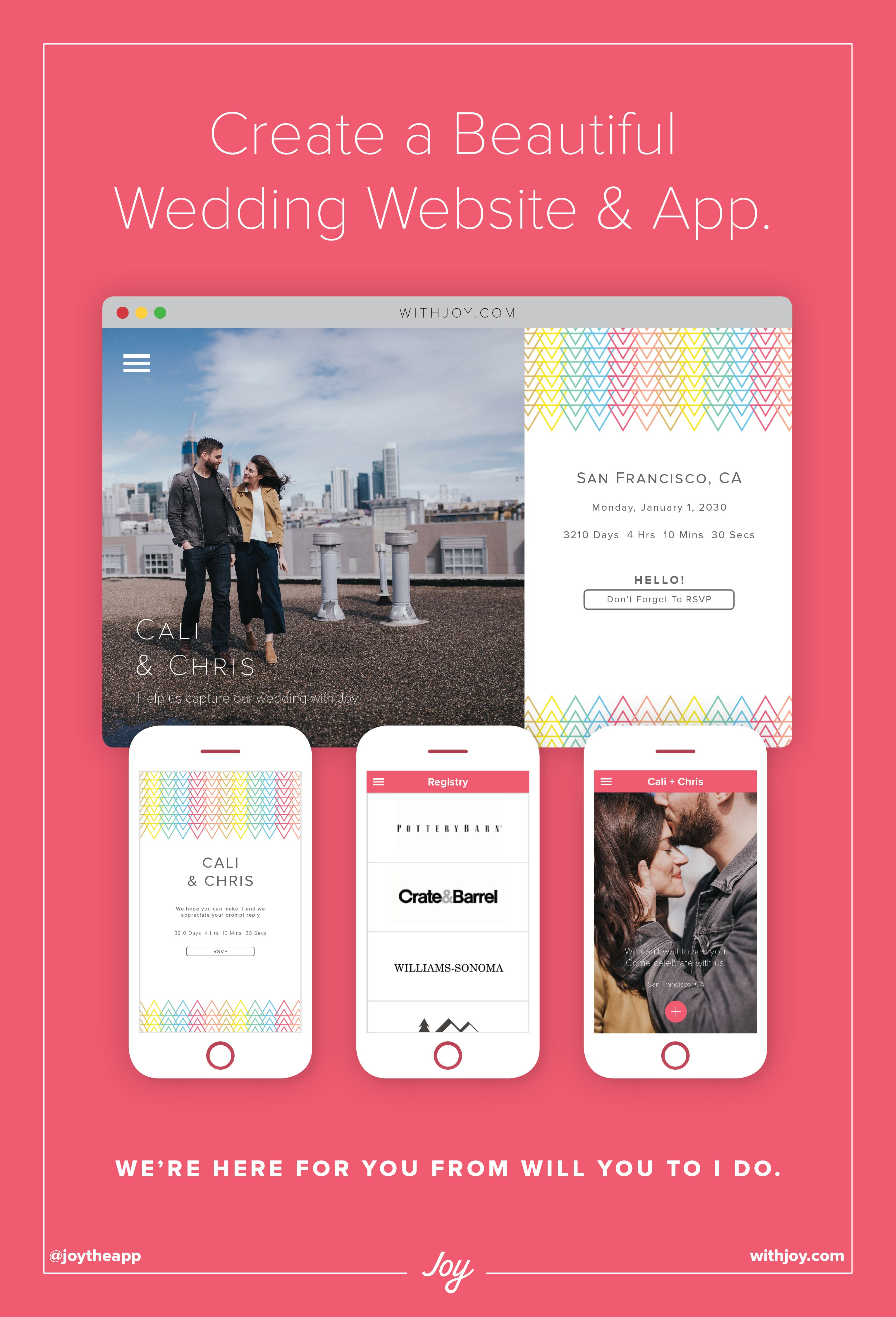 Create A Free And Fun Wedding Website And App Withjoy Com Wedding Website Free Custom Wedding Website Wedding Website
