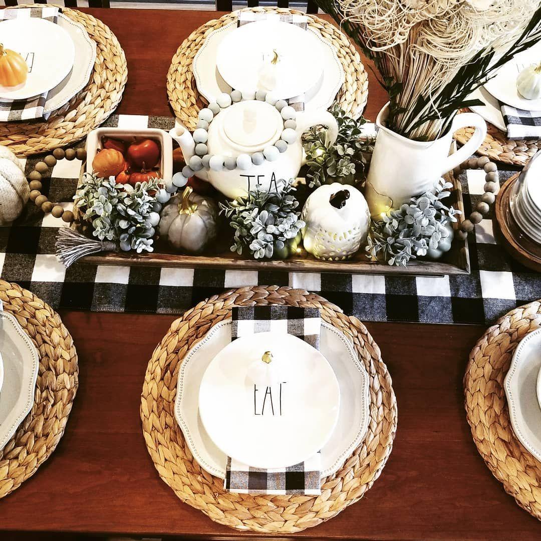 30 Best Farmhouse Table Dining Room Decor Ideas: Rae Dunn Thanksgiving Table Setting Buffalo Check