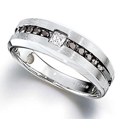 mens 12 ct tw enhanced black and white diamond ring in sterling silver - Zales Mens Wedding Rings