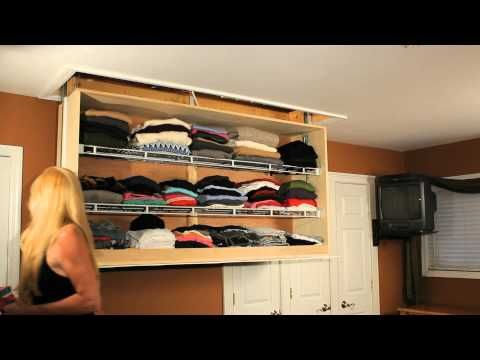 This Closet Retracts Into Your Attic Using A Garage Door Opener Amazing Idea For Small Rooms With Small Small Closet Space Hidden Closet Closet Small Bedroom