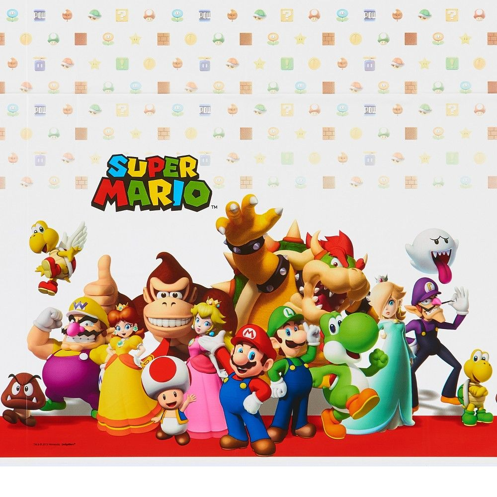 Any Super Mario Superfan Will Love This Colorful Table Cover Featuring All Their Favorite Characters Super Mario Brothers Super Mario Bros Party Super Mario