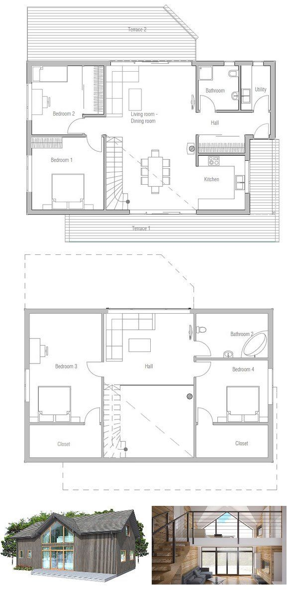 Small House Ch21 Dream House Plans Small House Bungalow House Plans