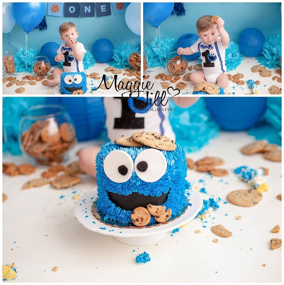Cookie Monster Cake Smash With Images Monster Birthday Cakes