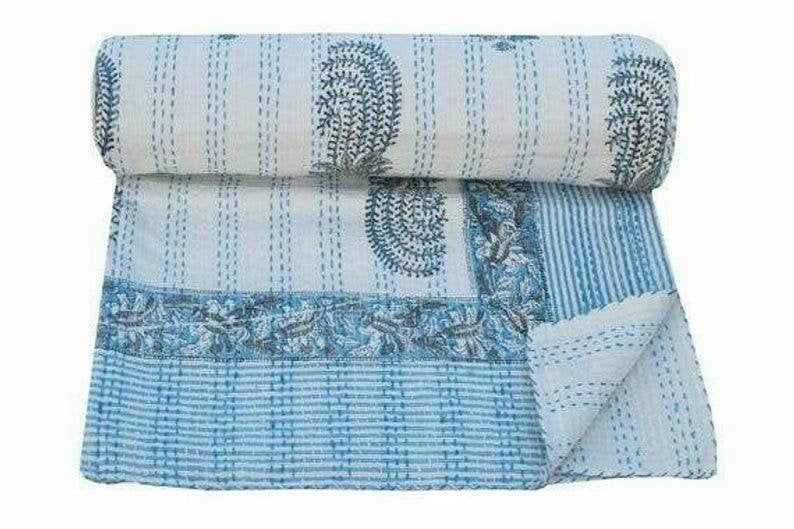 Hand Block Print Kantha Quilt kantha bed cover throw Indian Bedspread Queen Tree