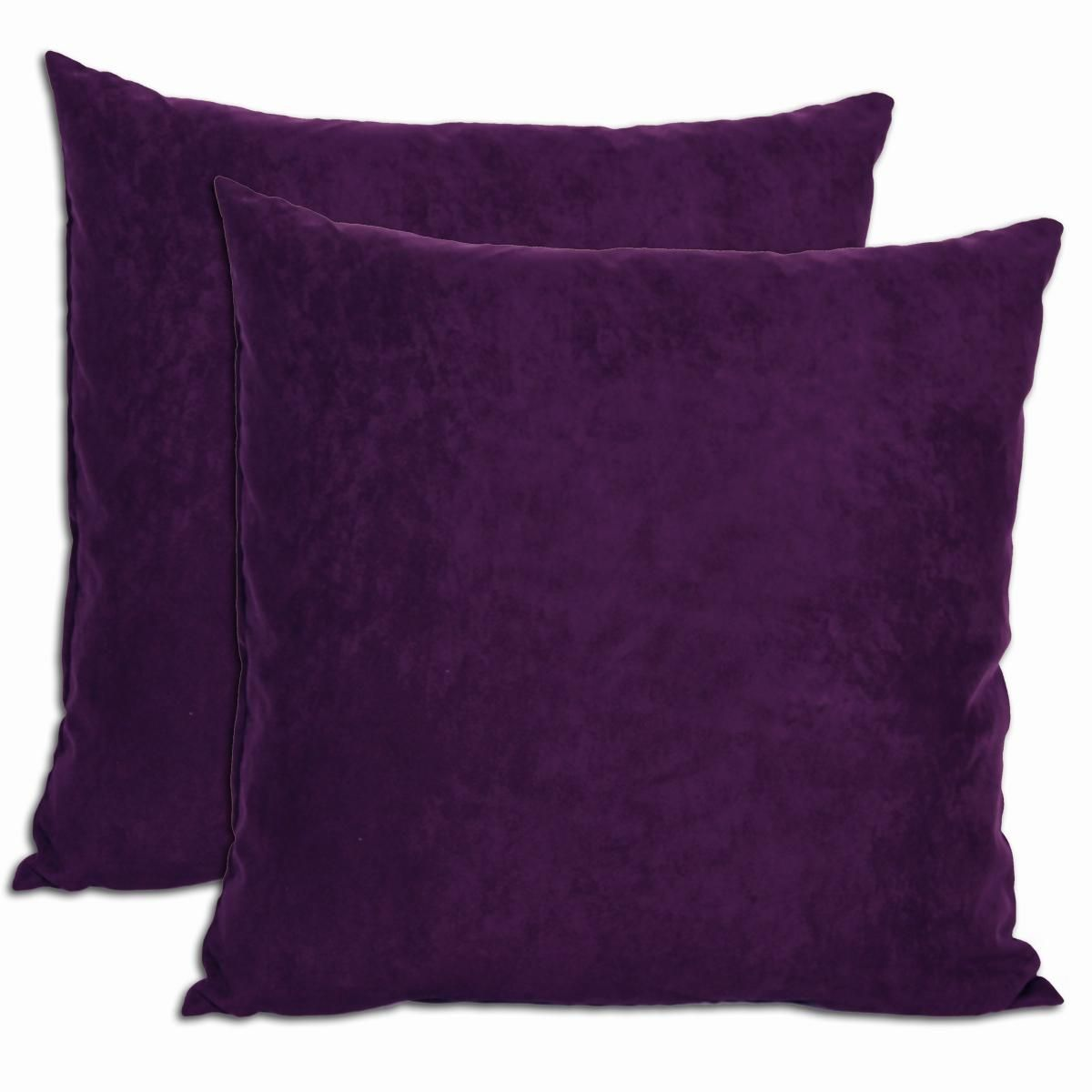 purple microsuede feather and down filled throw pillows (set of   - purple microsuede feather and down filled throw pillows (set of )
