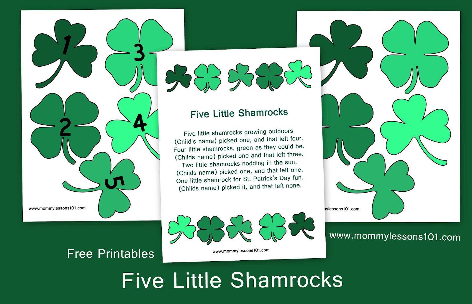 Mommy Lessons 101 Five Little Shamrocks Free