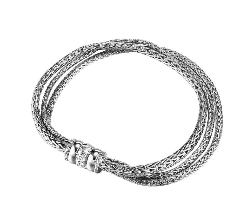 John Hardy Bracelet Sterling Silver Three Row Chain Pave Diamond Bedeg Clasp New Johnhardy