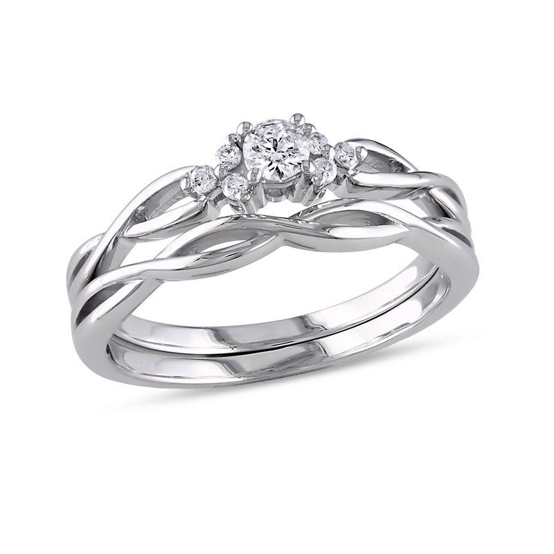 1/6 CT. T.W. Diamond Loose Braid Bridal Set in 10K White Gold|Zales #loosebraids