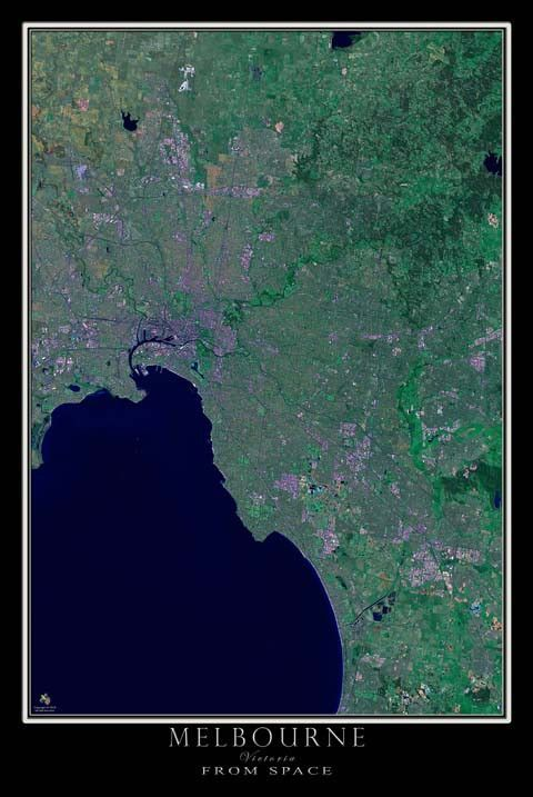 The Melbourne Victoria Australia Satellite Poster Map Victoria Australia Melbourne Victoria Australia
