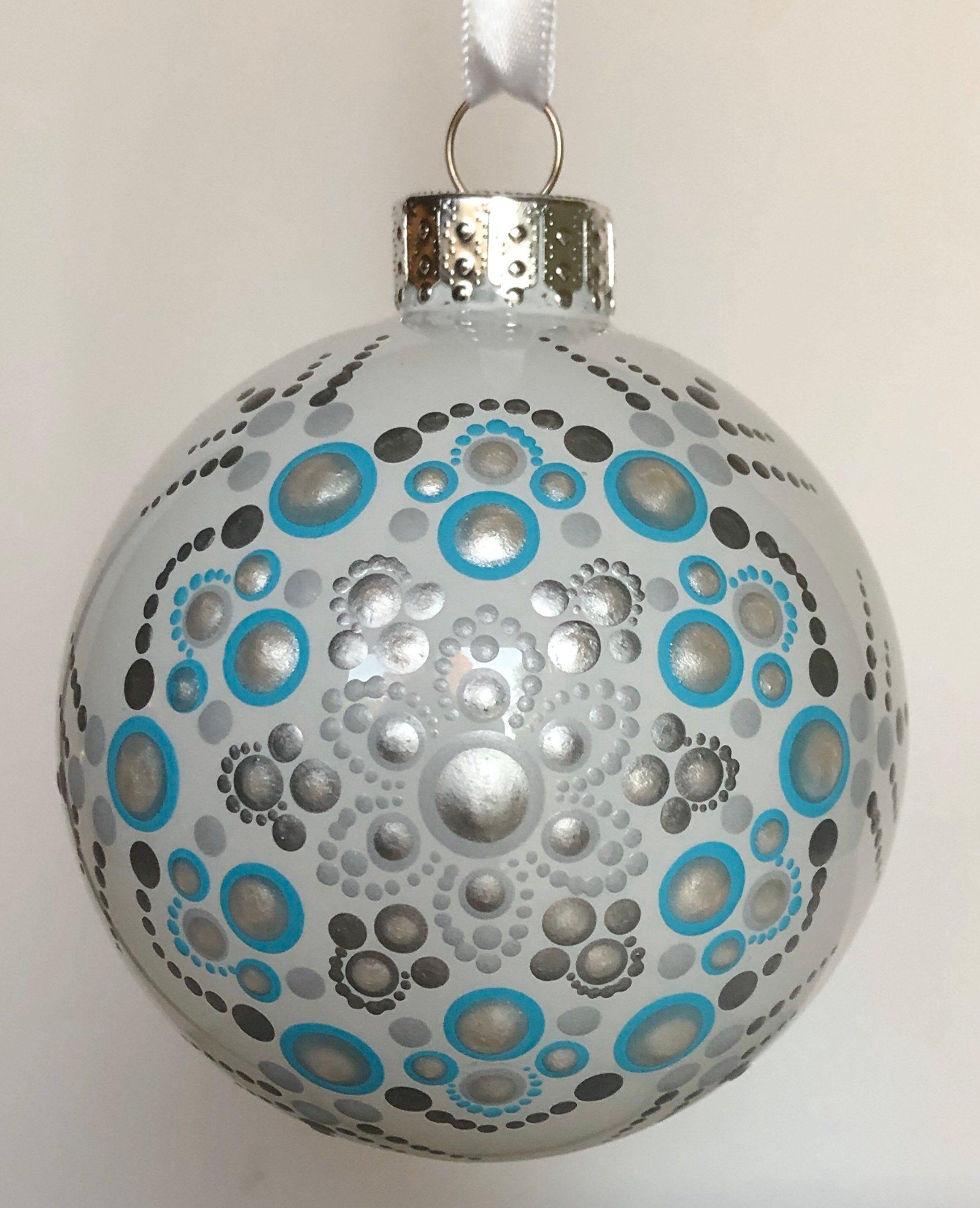 Snowflake Dot Mandala On White Glass Ball Ornament 3 1 Glass Ball Ornaments Painted Christmas Ornaments Christmas Mandala