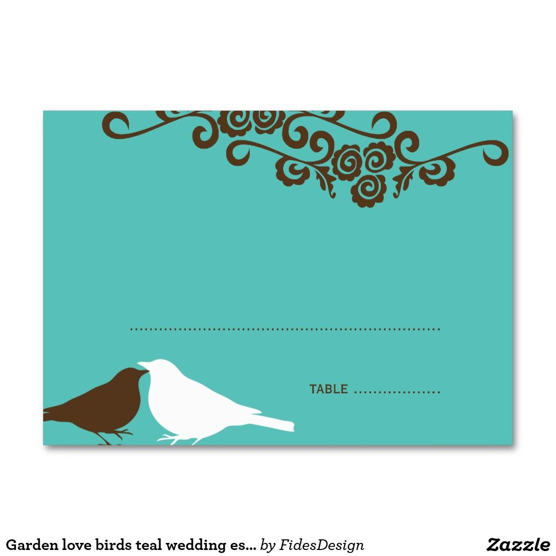Garden love birds teal wedding escort place card | Teal weddings ...