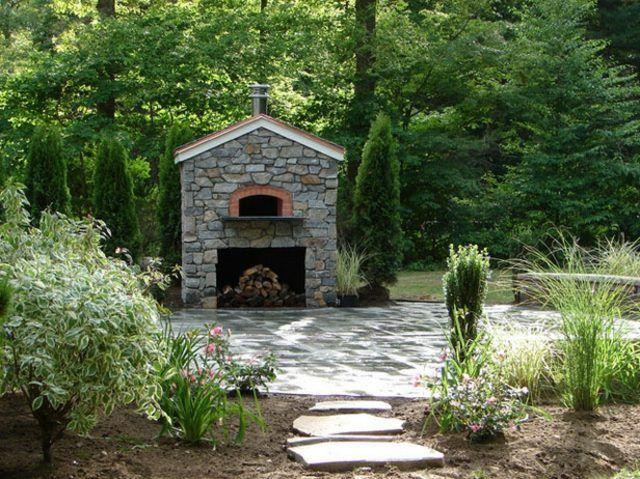 Naturstein Deko Wand Kamin Pizzaofen Garten Steinweg aussenraum