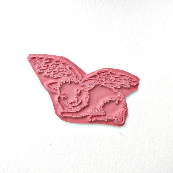 Un sello de cerdito volador - Cerdo volador durmiente.