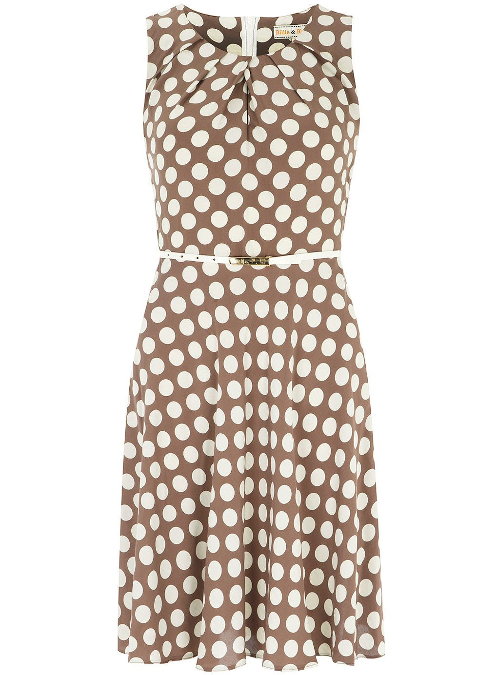 6e164cdf2ca Billie and Blossom Spot taupe pleat dress - Dorothy Perkins | Look ...