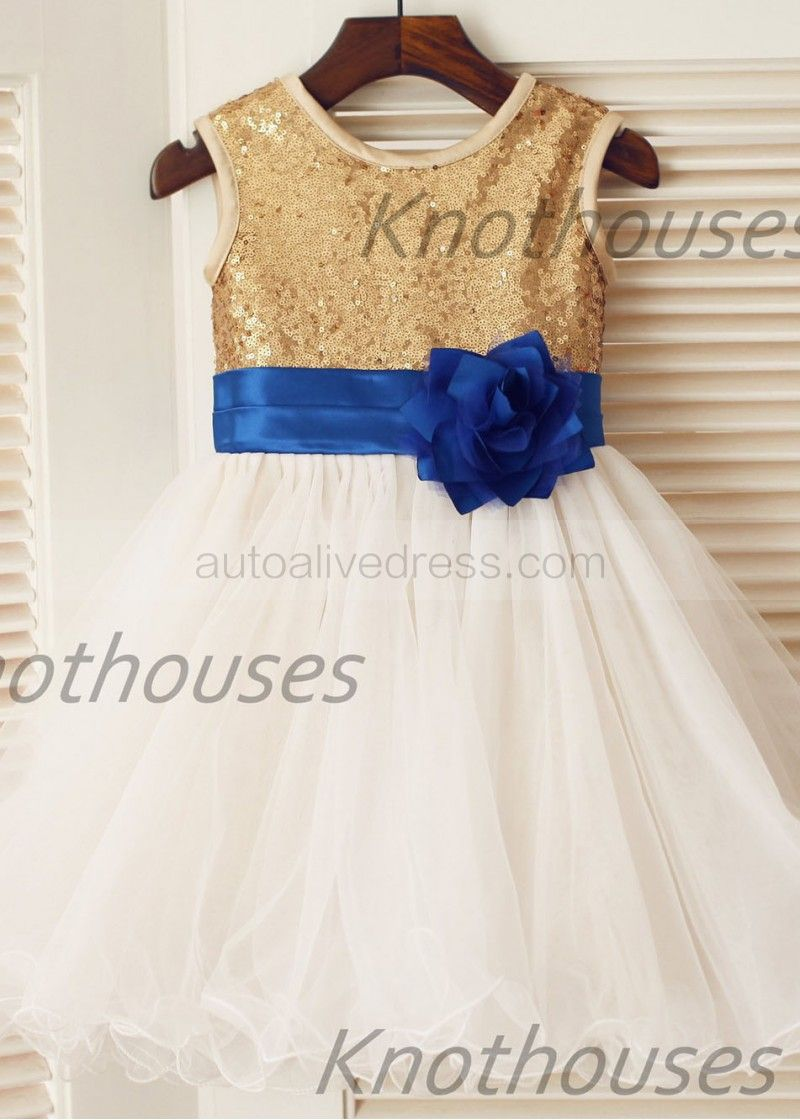 Gold sequin ivory tulle with royal blue flower sash knee length