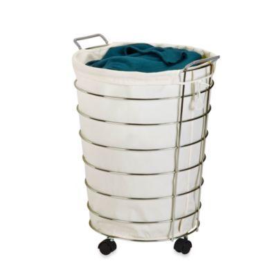 We Could Register For 2 One For Lights One For Darks Honey Can Do Canvas And Chrome Rolling Laundry Hamper Bedbathandbeyond Com Laundry Hamper Hamper Hamper Basket