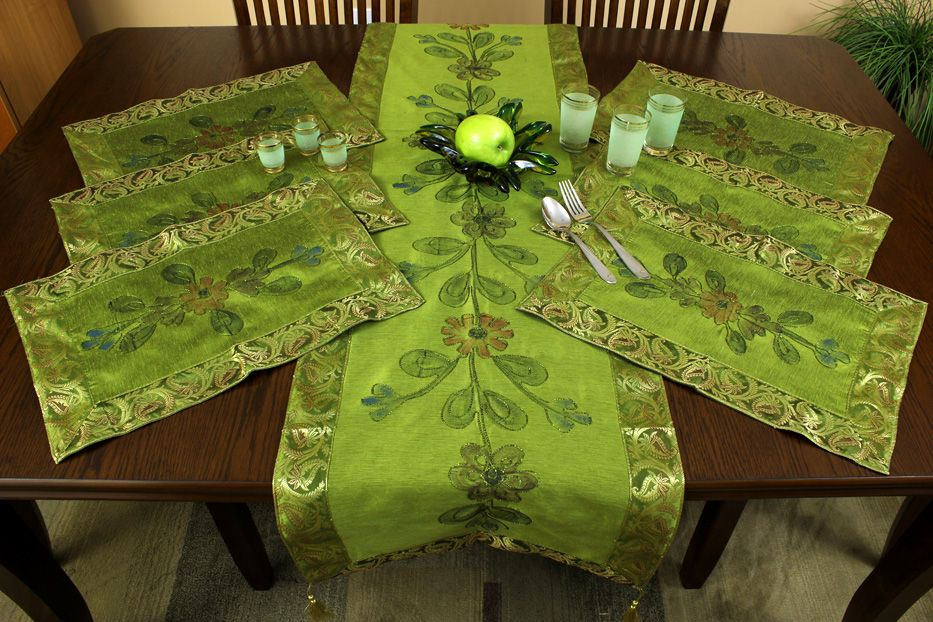 Elegant Bright Citrus Green Placemats Set With A Beautiful Hand