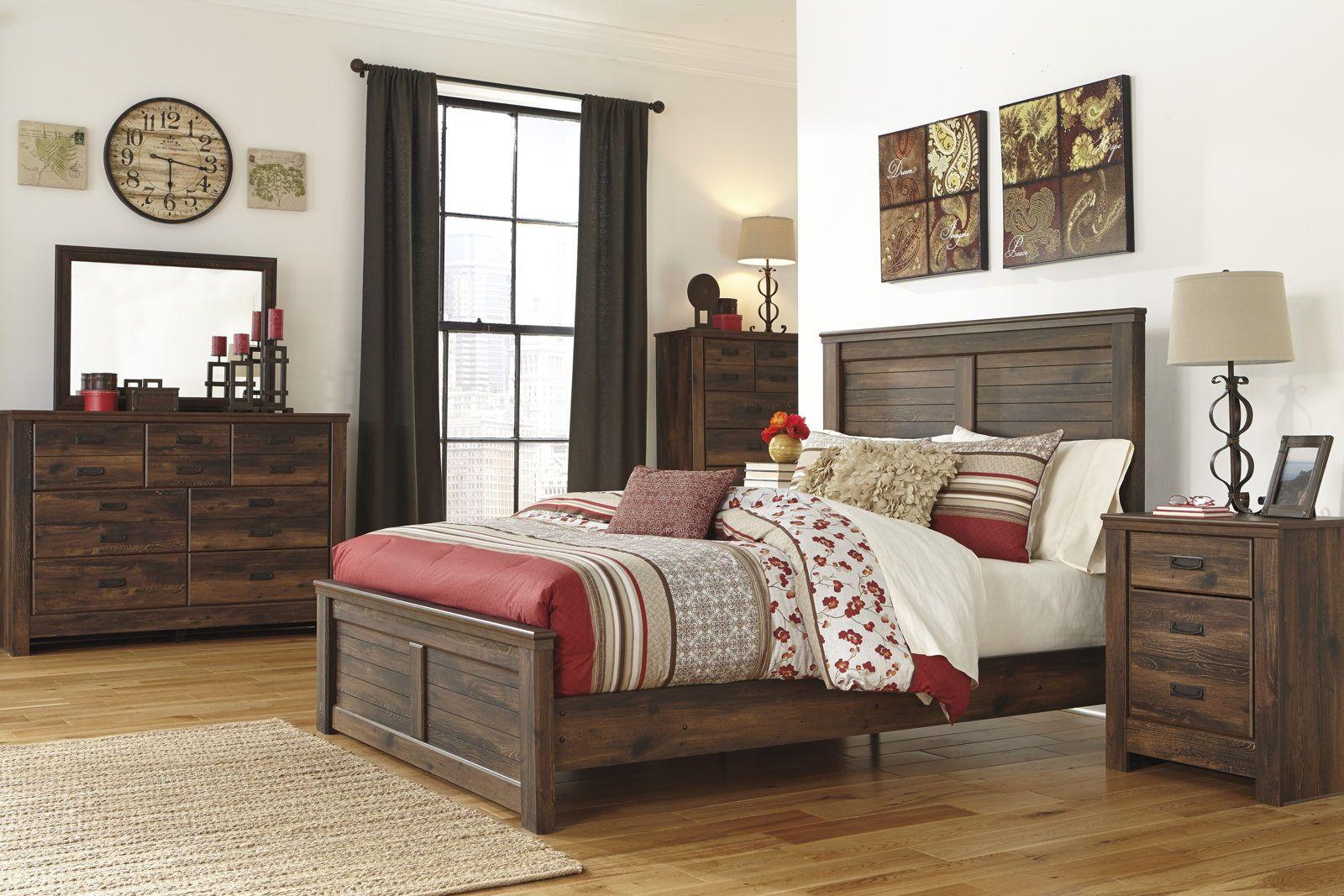 Quinden Rustic Panel Bedroom Set in Dark Brown | Bedroom ...
