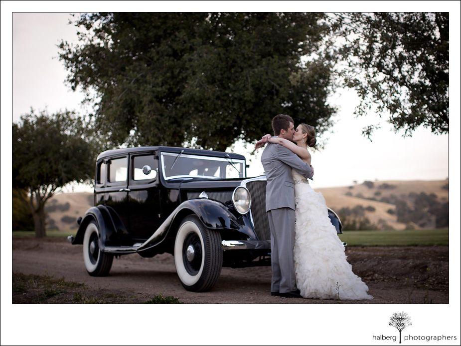 old fashion getaway car at Firestone Vineyard Wedding, bride and ...