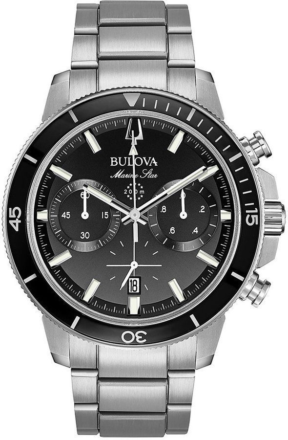 34bc32af43b6 Bulova Men s Chronograph Marine Star Stainless Steel Bracelet Watch 45mm  Relojes
