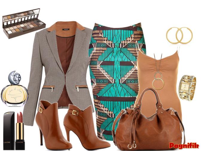 Idée de look Pagnifik   Jupe bleu marron Ohema Ohene | Pagnifik