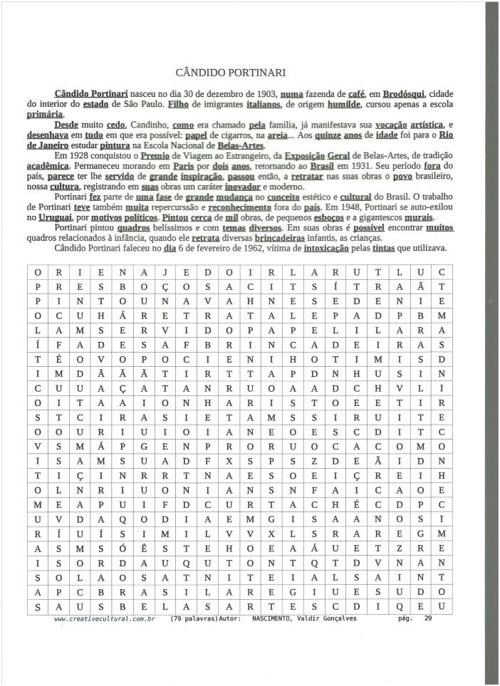Caça palavras, cruzadas educativas e histórias: Artes Cândido Portinari - Caça palavras
