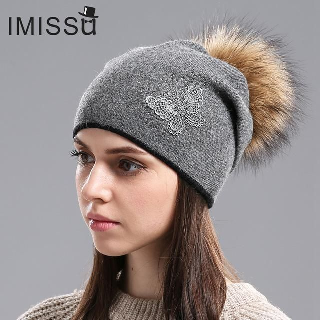 IMISSU Women s Hats for Winter Knitted Wool Beanie Casual Hat with Real  Raccoon Fur Pom Pom Solid Colors Ski Gorros Mask Cap d7f2f4149a7