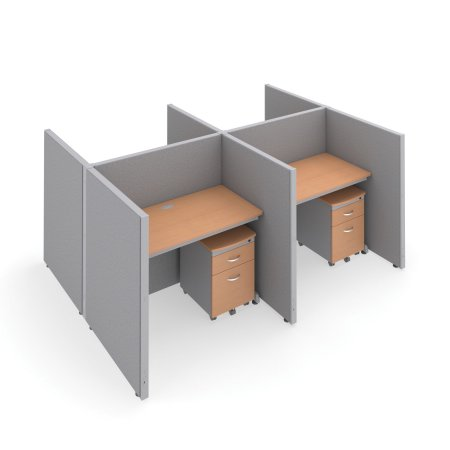 OFM RiZe Series 47 inch x 48 inch 4-Unit Full Vinyl Privacy Station