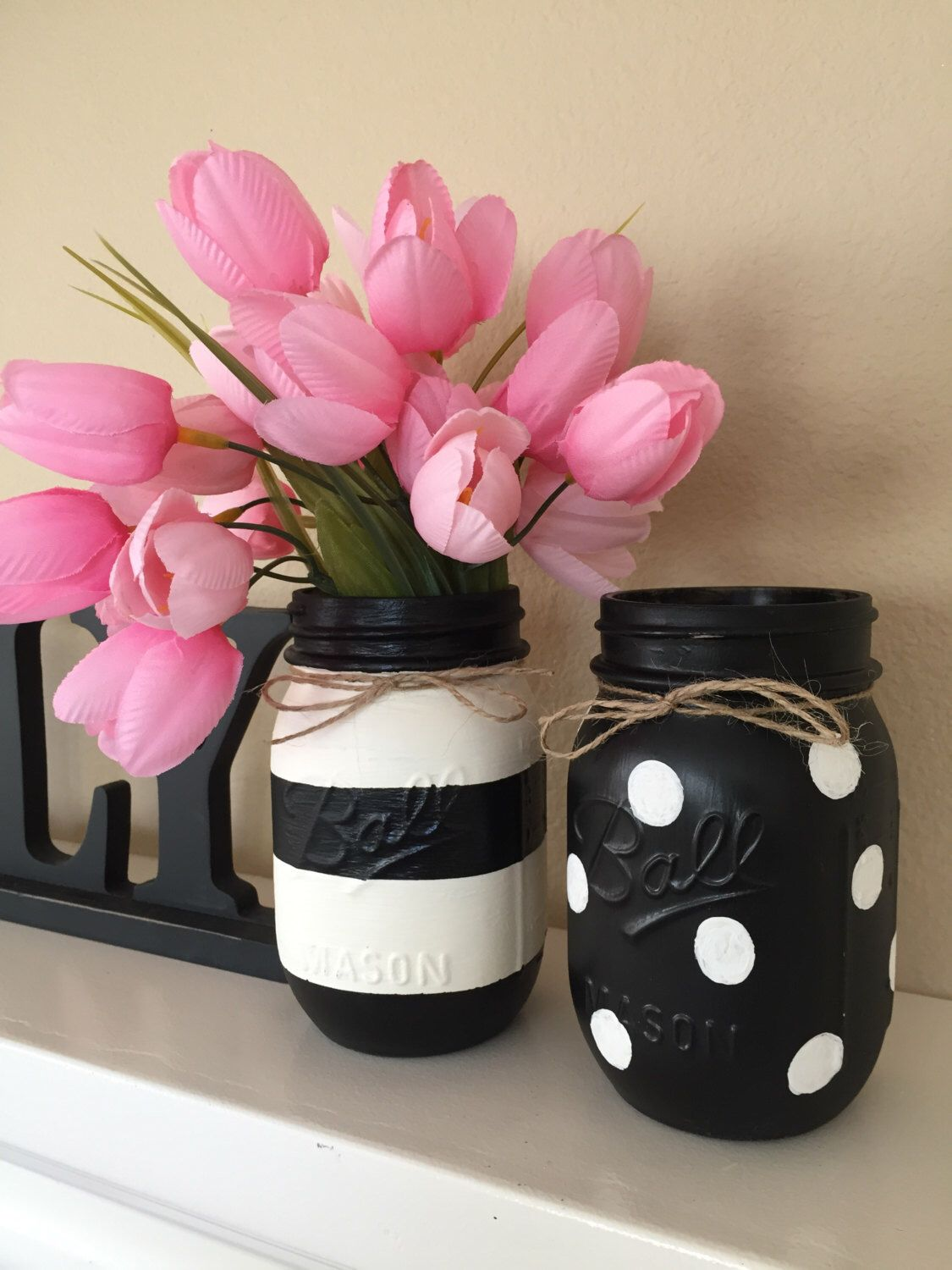 Black White Mason Jars Stripes And Polka Dots Set Of 2 Diy Tarro Frascos Decorados Botes De Conservas