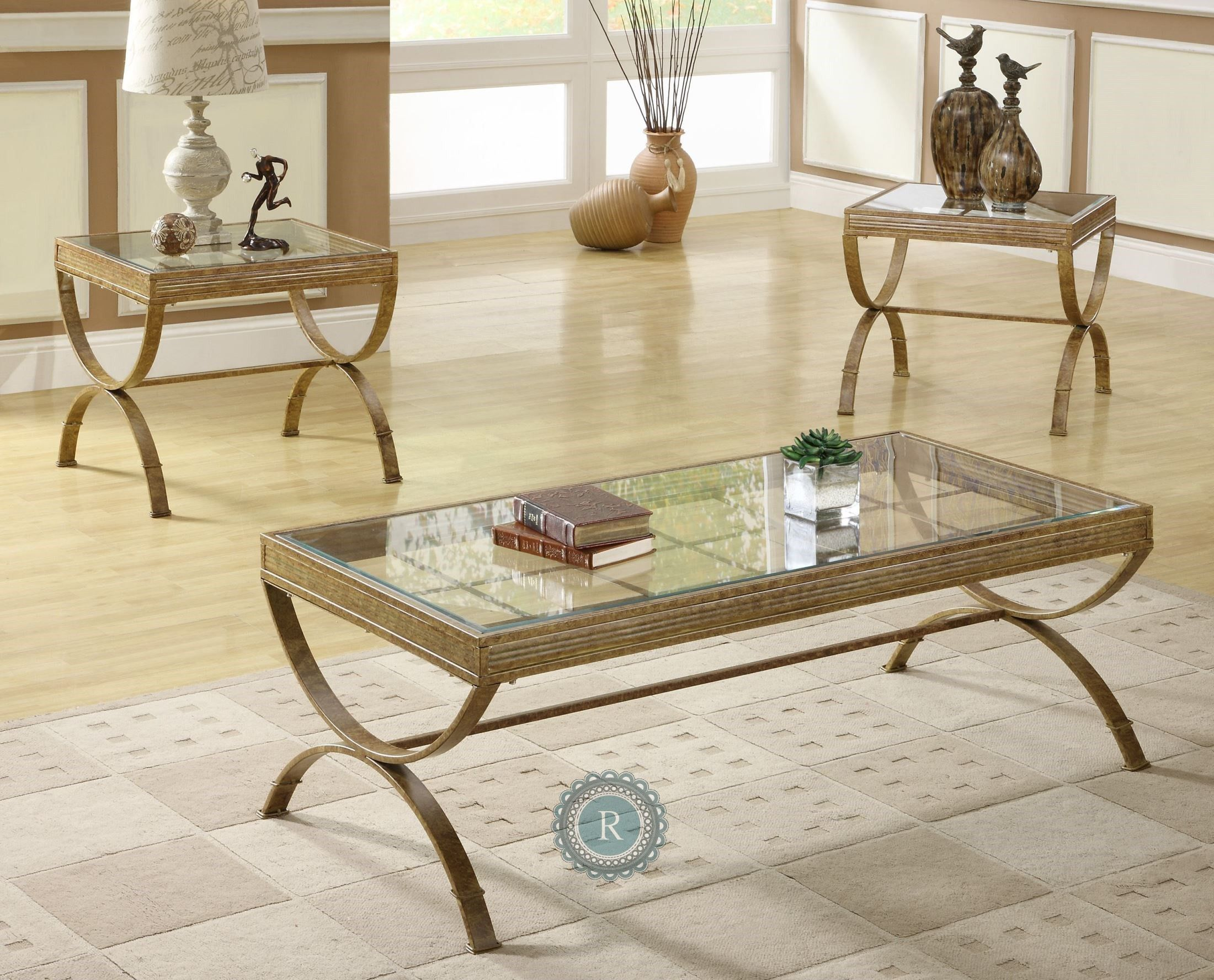 Claro Gold 3 Piece Occasional Tables With Images Coffee Table