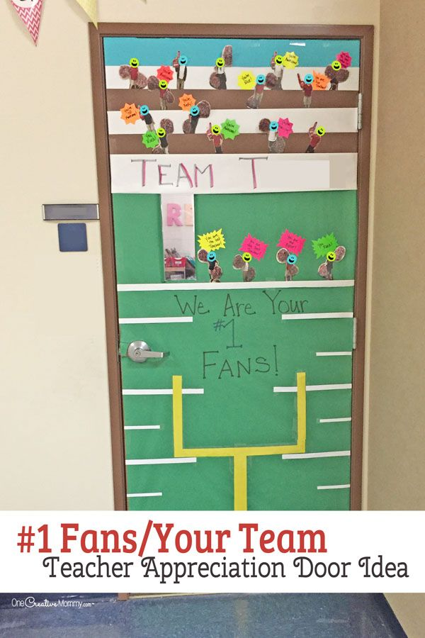 Weu0027re Your Fans Door Decorating Idea featured with 21 Teacher Appreciation Door Ideas! OneCreativeMommy.com So many great ideas for your teacher!  sc 1 st  Pinterest & 21 Awesome Teacher Appreciation Door Ideas | Appreciation Teacher ...