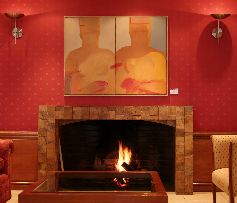 Acrílico de Roser Bru en nuestro salón chimenea. #HsmChile #VinadelMar #Chile #Arte #Pintura #Turismo