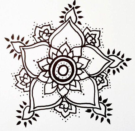 Floral Temporary Tattoo Henna Style Hand Drawn | Henna style, Hennas ...