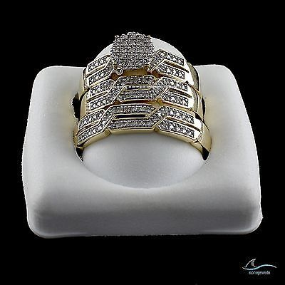 Yellow Gold Over Pave Lab Diamond Engagement Wedding Bride Groom