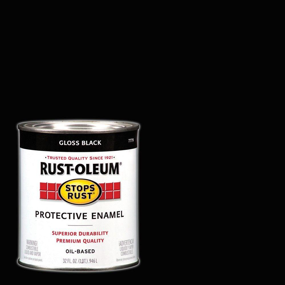 Rust Oleum Stops Rust 1 Qt Protective Enamel Gloss Black Interior Exterior Paint 2 Pack 7779502 Metal Shed Exterior Paint Enamel Paint