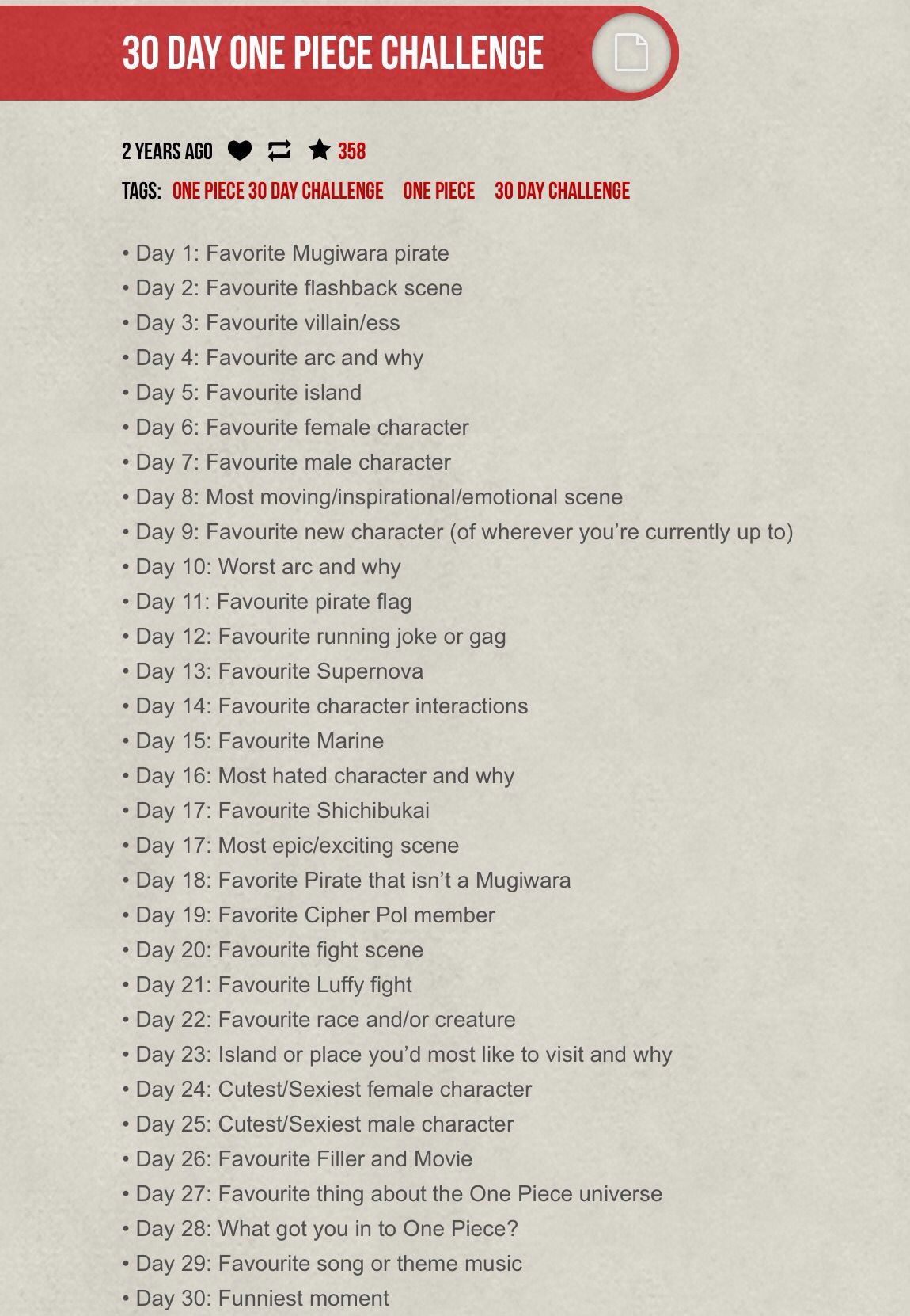 30 Day One Piece Challenge Challenges Piecings One Piece