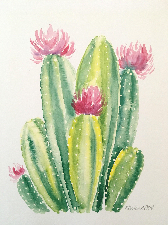 8 5 11 Original Watercolor Print On 110 Pound Card Stock Watercolor Print Cactus Paintings Cactus Painting