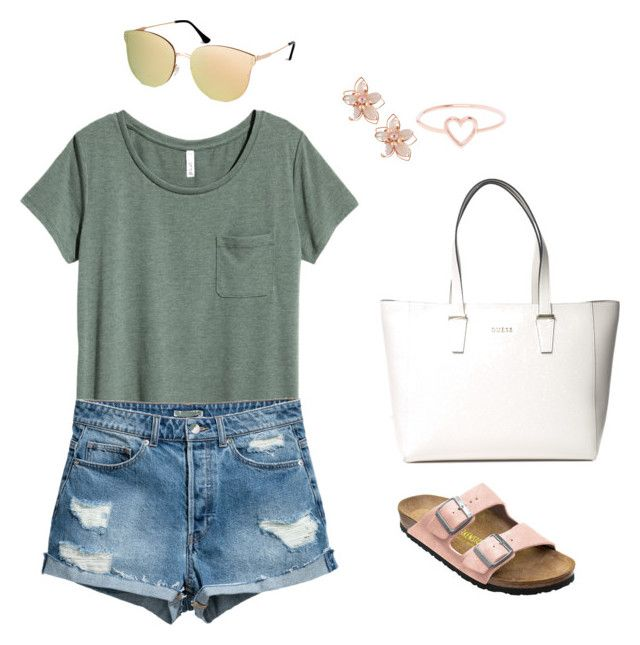 """""""Tubular Outfit"""" by astrupp on Polyvore featuring H&M, Birkenstock, NAKAMOL, Love Is and GUESS"""