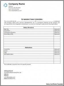 Salary Certificate Template  Az Templates    Certificate