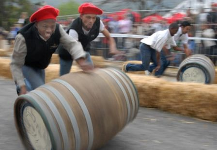 Wine barrel rolling competition