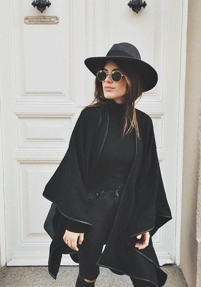 c473eab45bc Black Hat + Black Cape + Black skinny ripped jeans + sunglasses ...