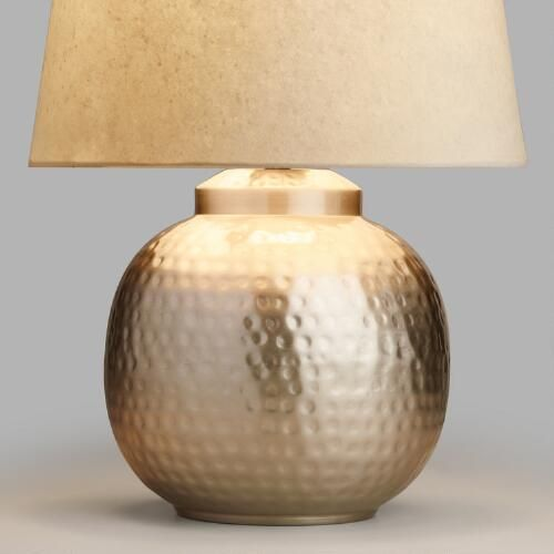Hammered Pewter Accent Lamp Base: Gray   Metal By World Market