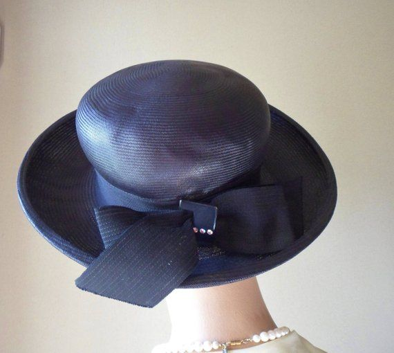 113134675dfc6 Black Straw Dress Hat with Rhinestone Buckle