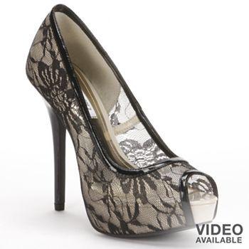 Jennifer Lopez Peep Toe Platform High Heels Women Heels Platform High Heels Black Lace Pumps