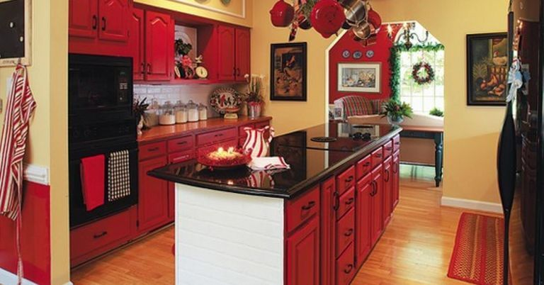 20+ Incredible Christmas Red Kitchen Wall Color Design Ideas images