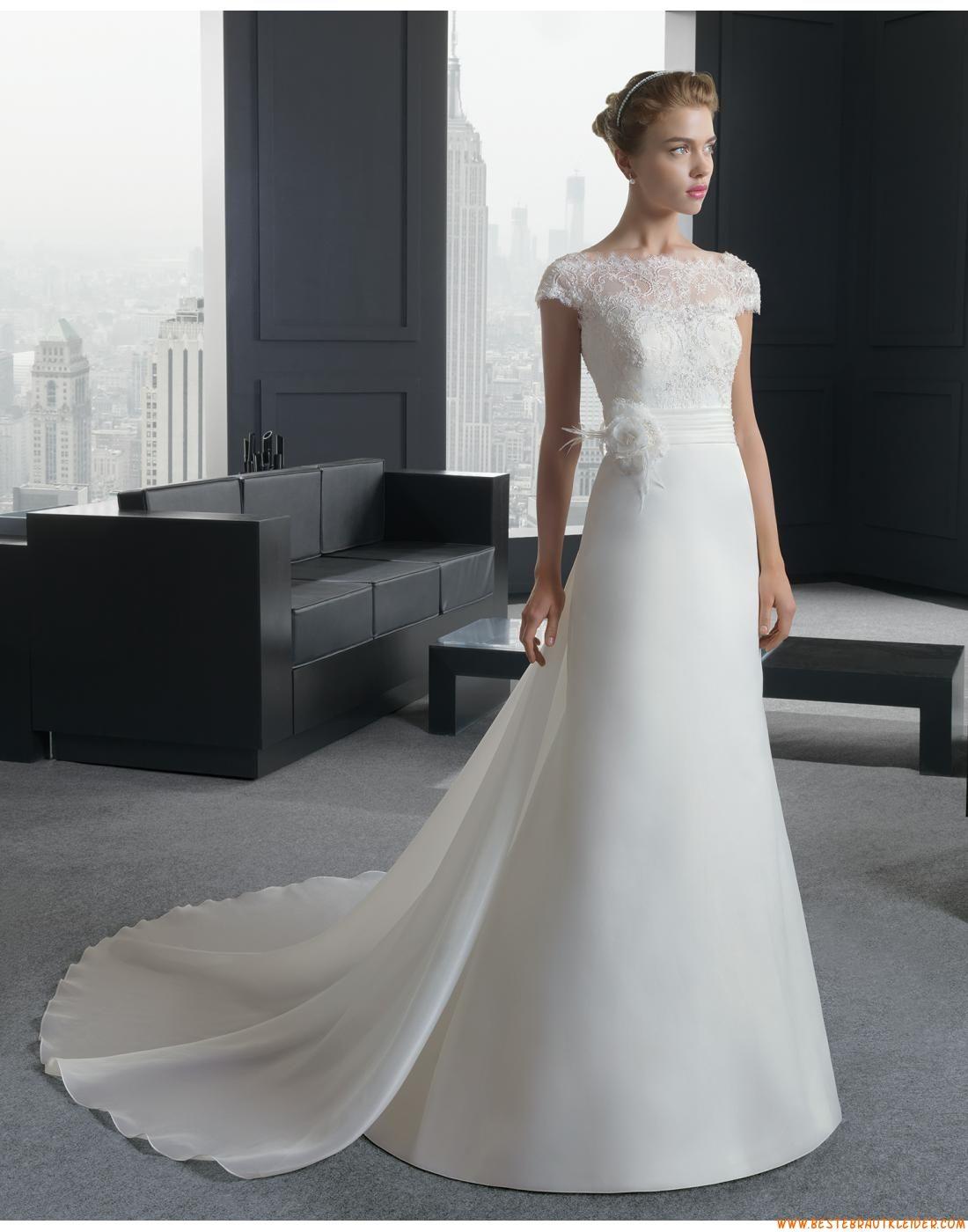 2015 A-linie Schicke Aparte Brautkleider aus Organza mit Applikation ...