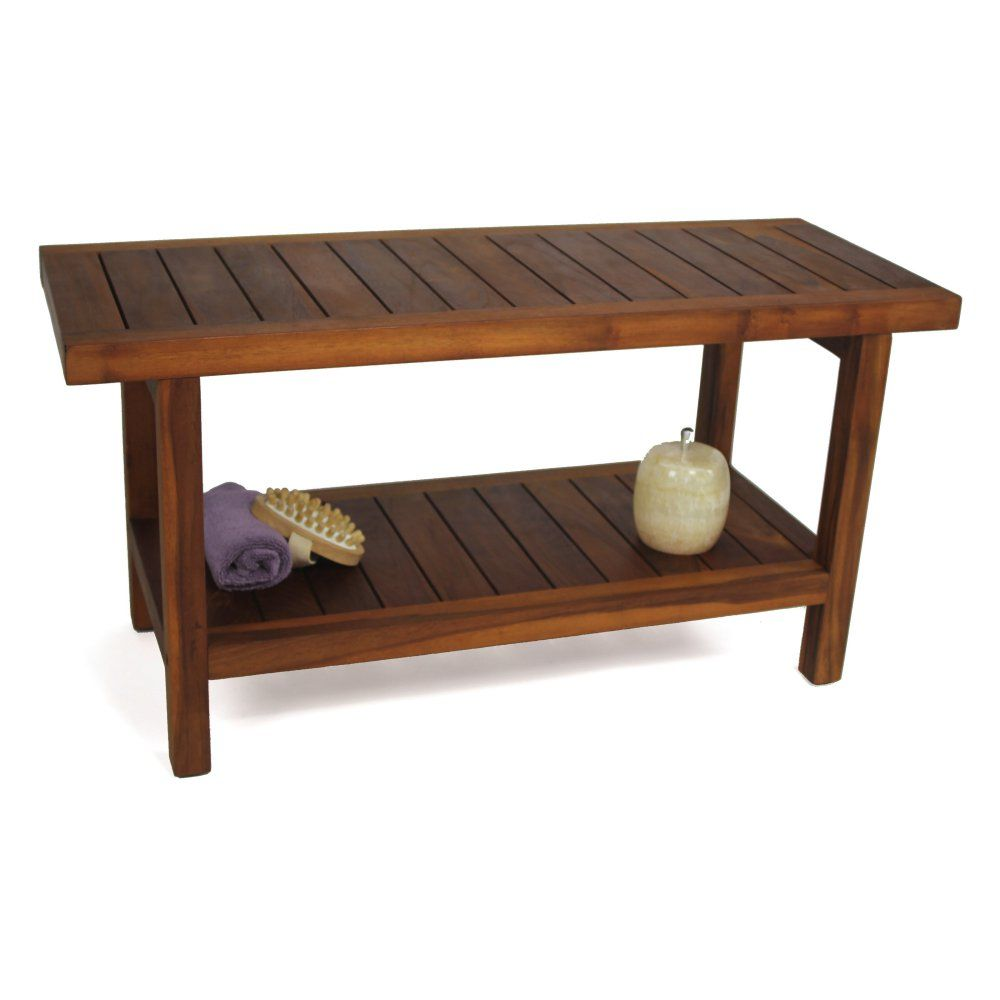 aqua teak spa bench with shelf 36 in wide shower seats at