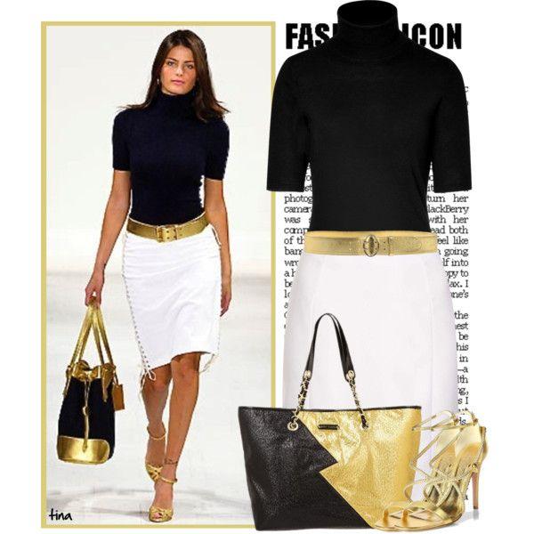 Black White Gold Outfit Costurando Roupas Femininas Combinacao